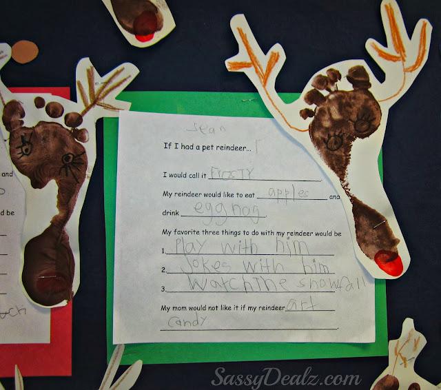 reindeer footprint bulletin board classroom