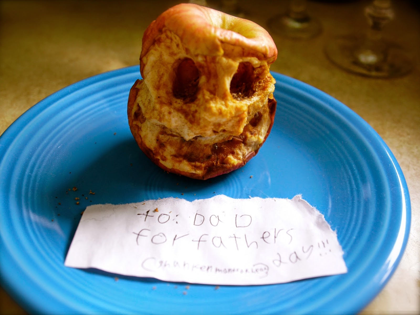 family fun, Tayo Anderson Clifford, For Dad, apple skull, fruit