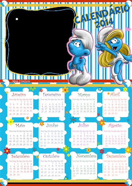 Calendários 2014 Smurfs