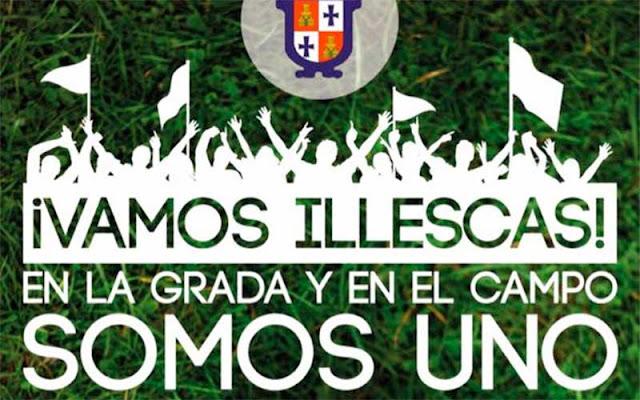 Vista parcial cartel animando a la afición CD Illescas