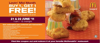McDonald's coupon: McNuggets (6pcs) Buy 1 Free 1  (21 and 22 June 2011)
