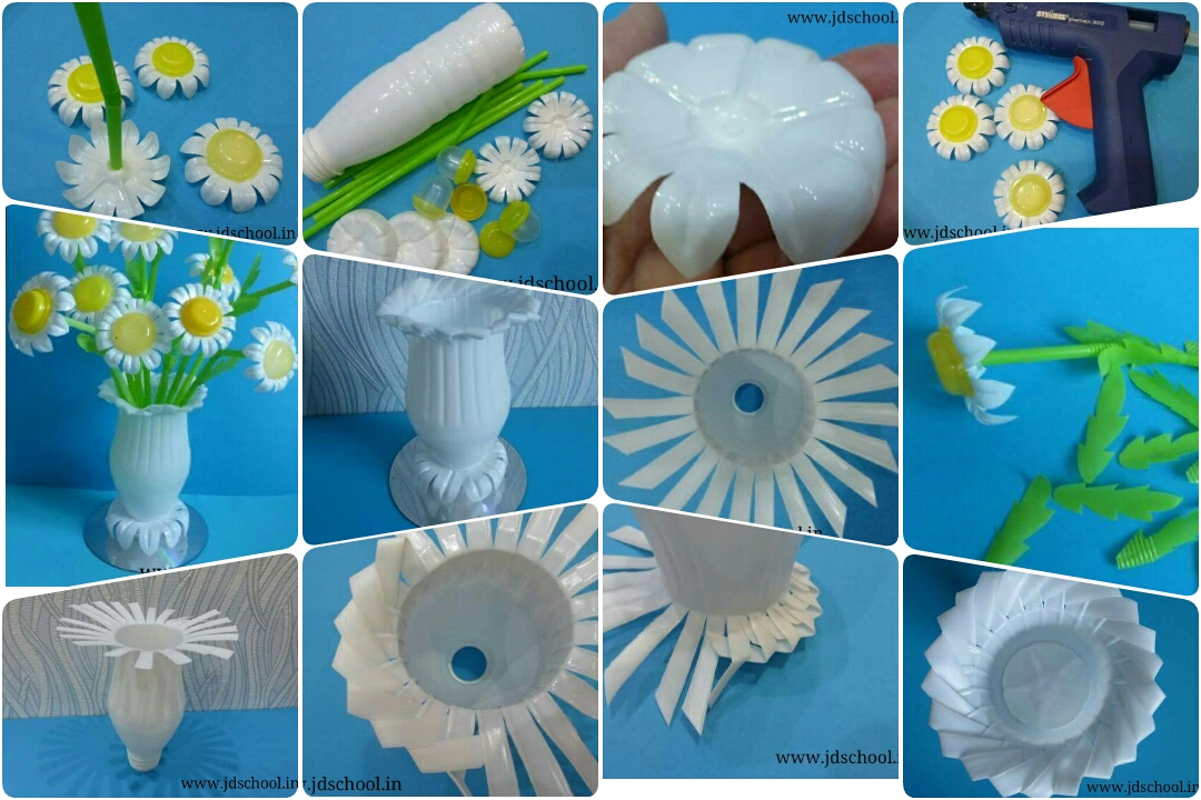 Make a beautiful flower pot from waste plastic bottle for Waste material project