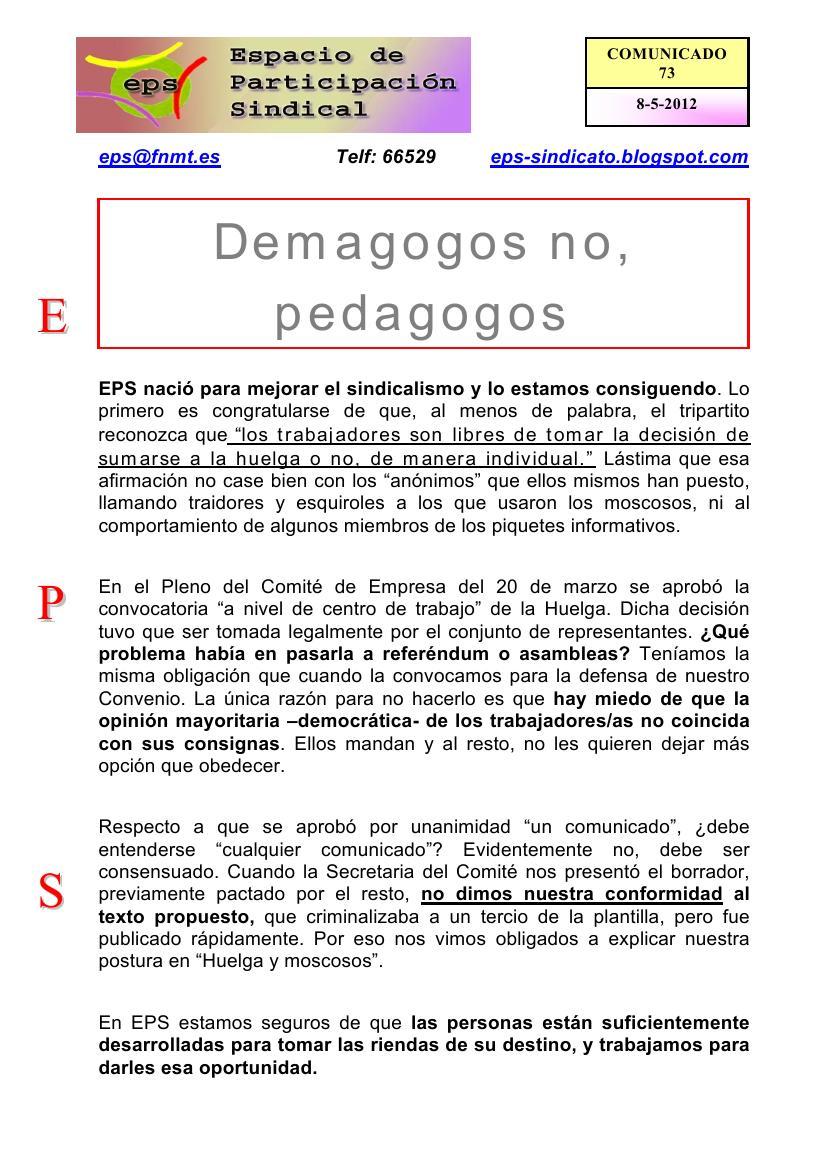 Espacio de Participación Sindical: 2012
