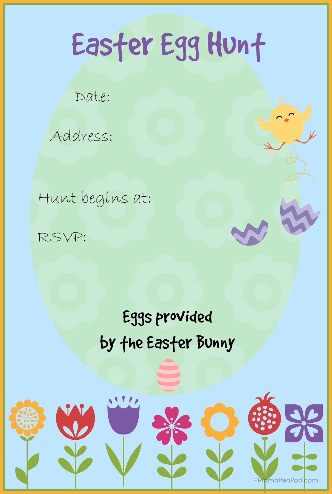 FREE PRINTABLE easter egg hunt party invitation