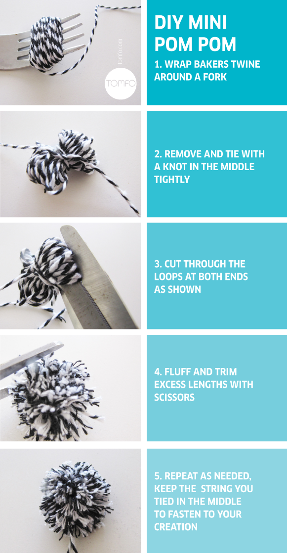 DIY Mini Pom Pom Tutorial by TOMFO