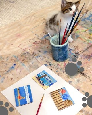 tiny canvas paintings with beach scenes
