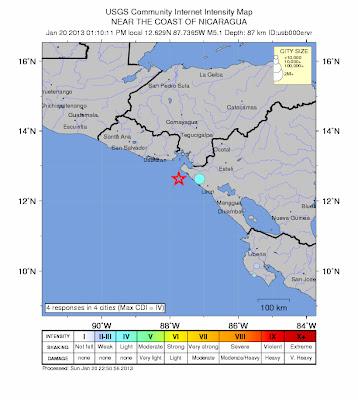 Epicentro sismo 5,5 grados Océano Pacífico, Costa de Nicaragua, 20 de Enero 2013