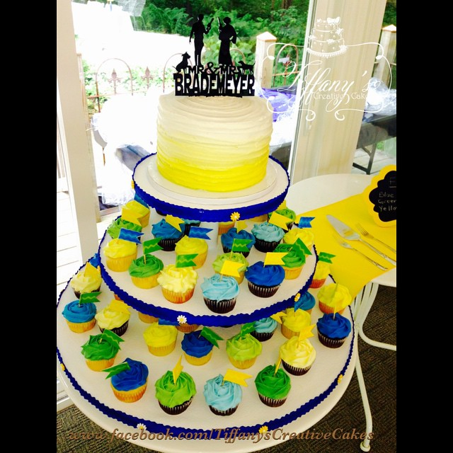 Yellow Ombré wedding cake with Ombre cupcakes | Tiffany\'s Creative Cakes