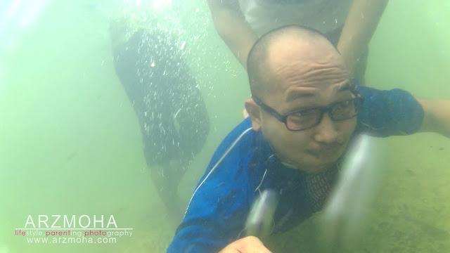 lemas dalam air, selfie, taman rimba pulau pinang, selfie dalam air, underwater selfie, kualiti gambar sjcam,