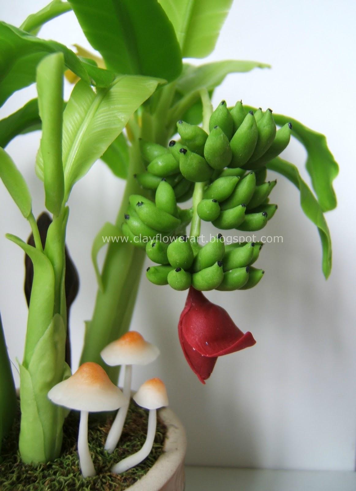 Miniature Banana Plant Clay Flower Art