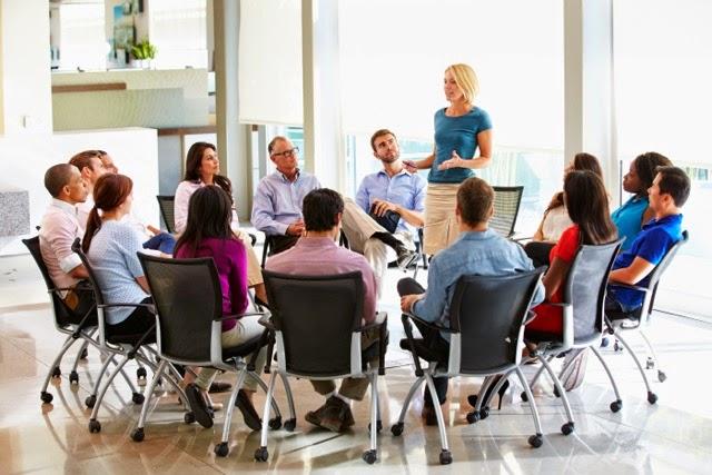 team meeting in  circle