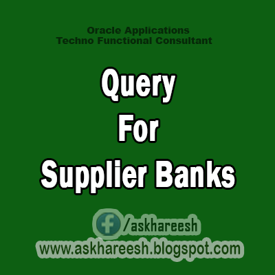 Query For Supplier Banks, AskHareesh.blogspot.com