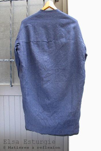 Manteau Elsa Esturgie bleu marine 100% laine