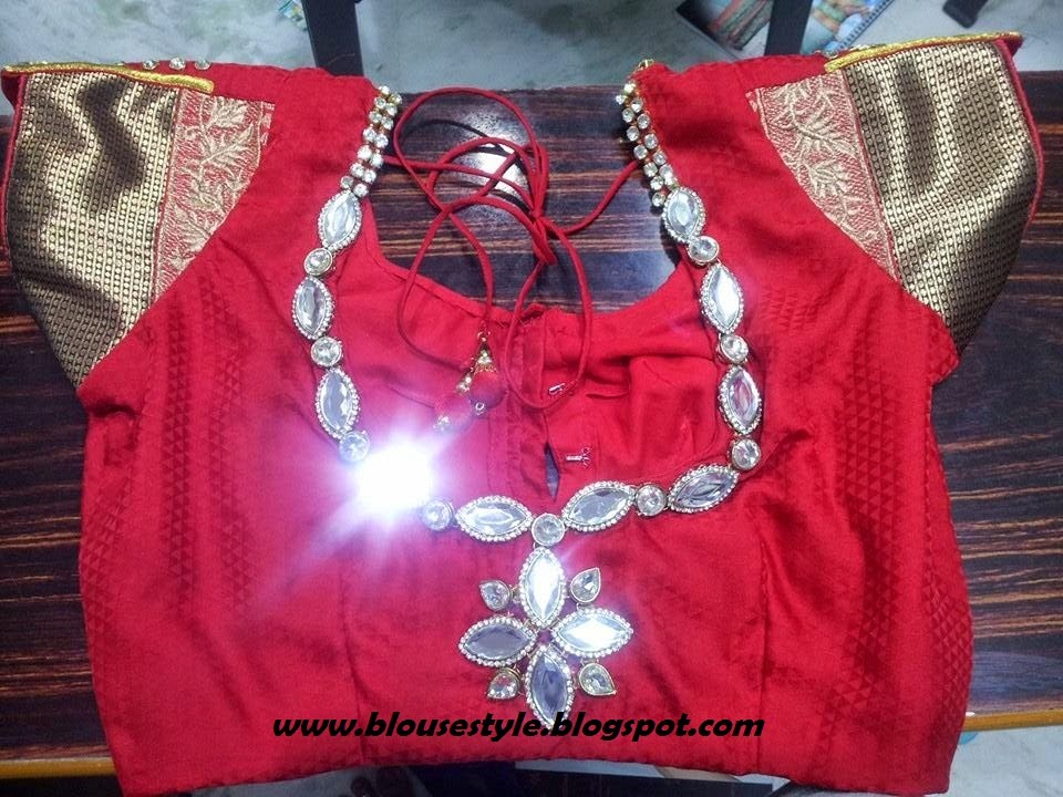 ring stone work back model blouse