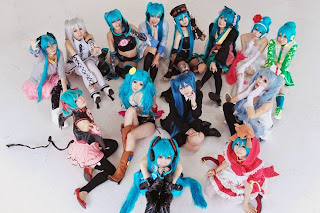 Vocaloid Hatsune Miku cosplay by many cosplayers