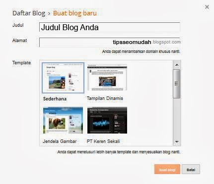cara membuat blogspot di blogger