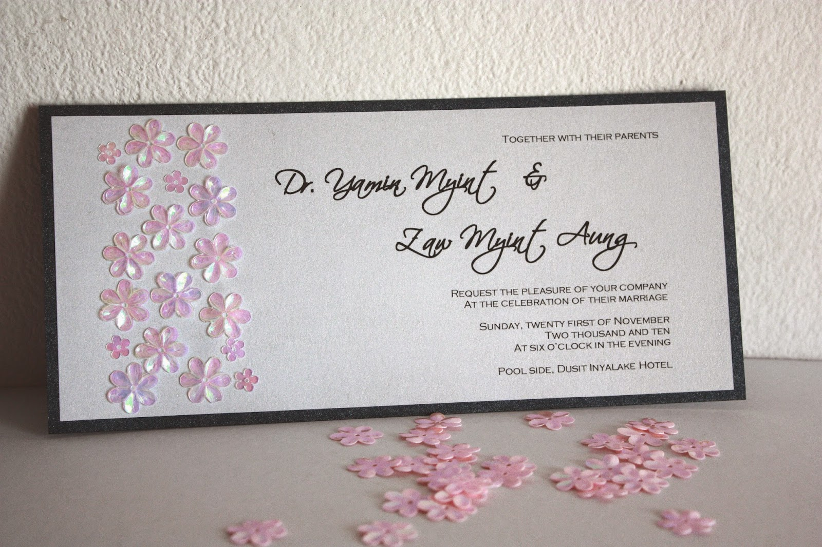 Floral sequin handmade wedding invitation card