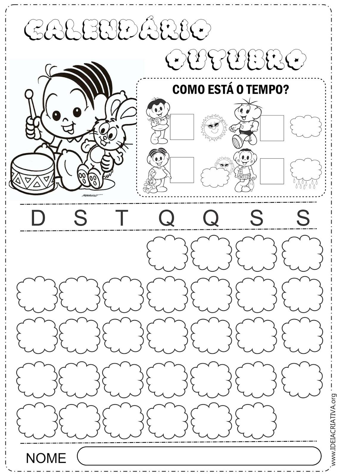 Calendários Outubro Turma da Mônica Baby para Colorir 2014