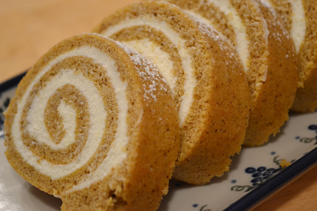... pumpkin roll on the dessert table. The flavors of pumpkin and cream