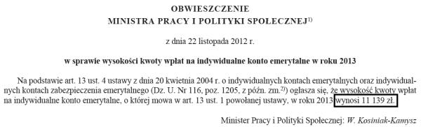 obwieszczenie limit wpłat na IKE w 2013 Minister Pracy