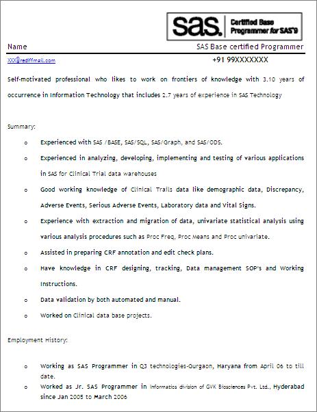 SAS ProgrammerDeveloperFree Resume Template