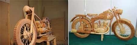 gambar motor unik dari kayu replika IZH-49