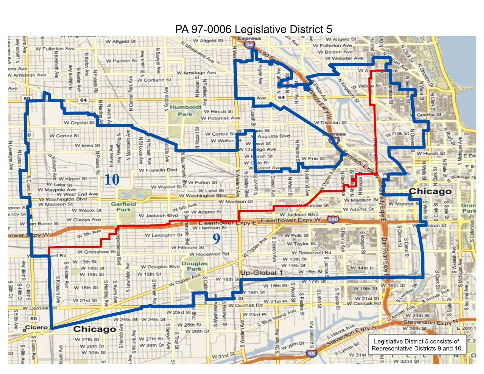 map of realigned illinois legislative district 5 including representative districts 9 and 10