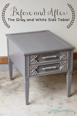 Before and After: The Gray and White Side Table!