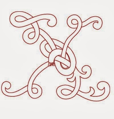 X Celtic calligraphy monogram tattoo stencil