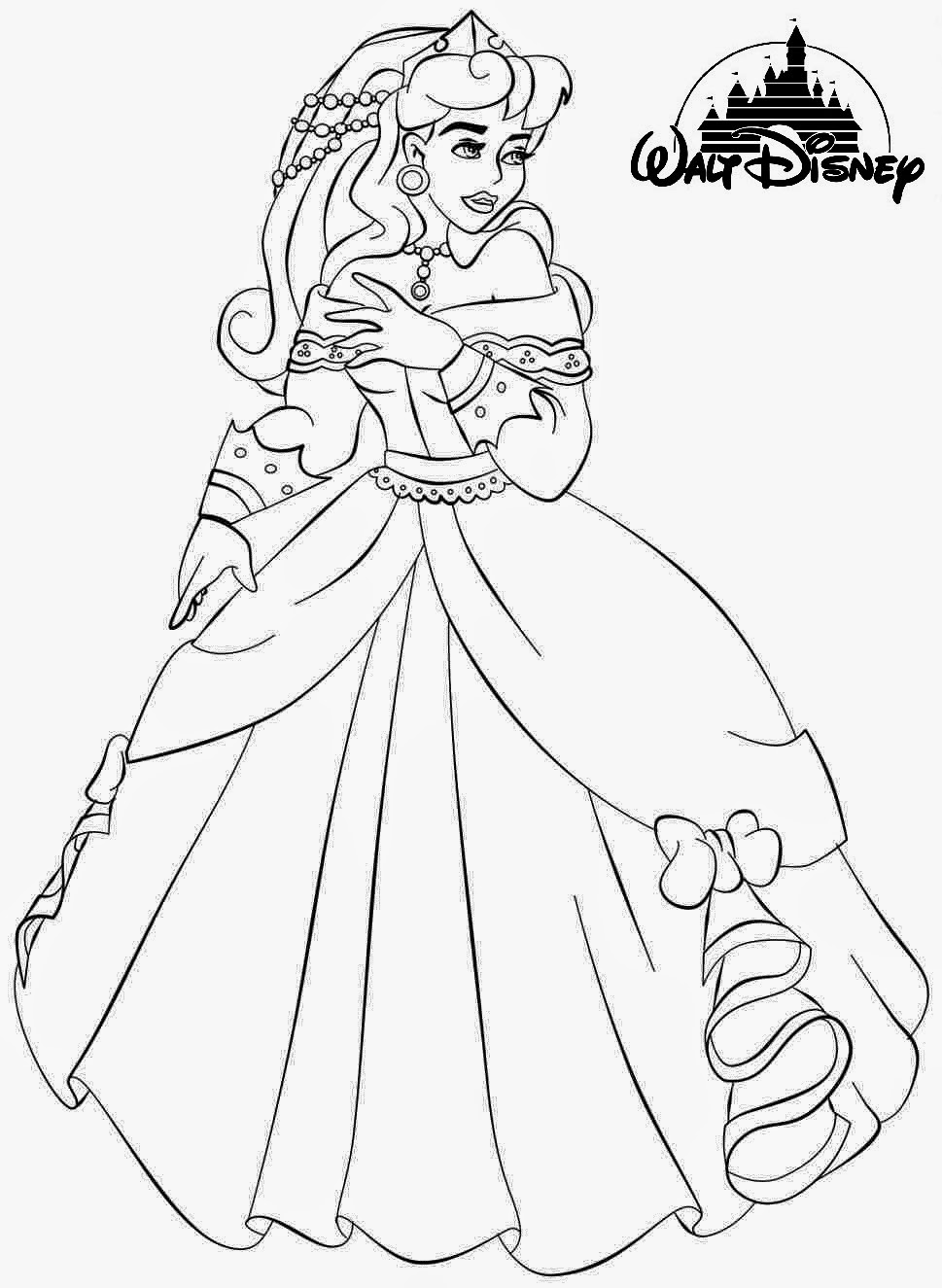 Free princess aurora printable coloring pages for Princess printable color pages