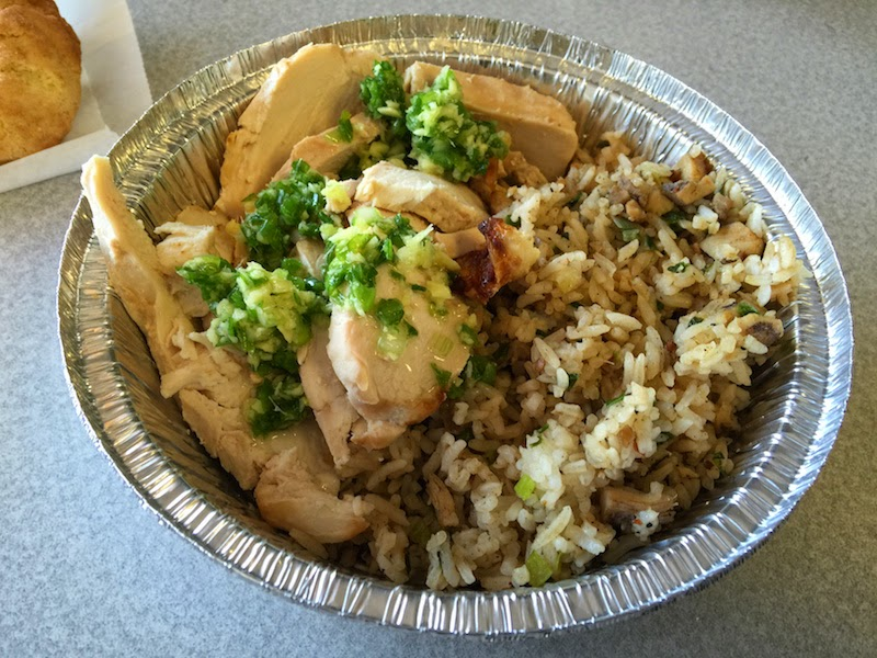 Emerald chicken with jerked rice at Chino Bandido as seen on Diners, Drive-Ins, and Dives