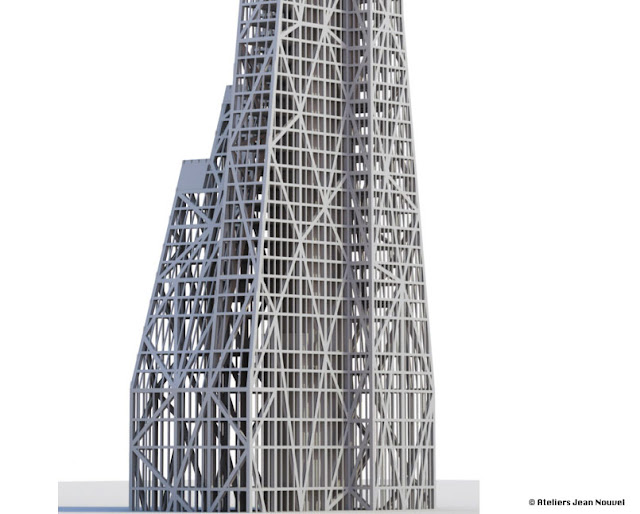 Picture of the steel skeleton on the lower part of the skyscraper