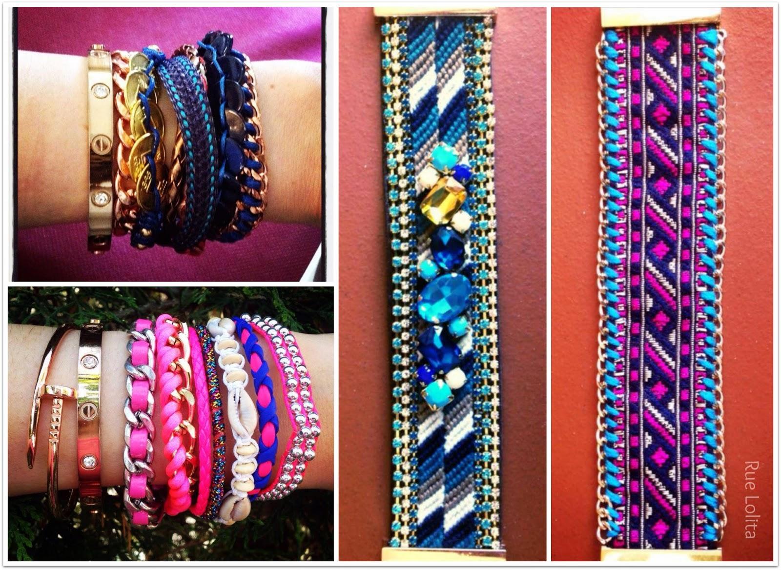 Collage pulseras de Rue Lolita azules y rositas para el verano
