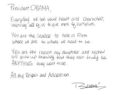surat beyonce untuk Obama