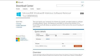 Microsoft Malicious Software Removal Tool, Antivirus