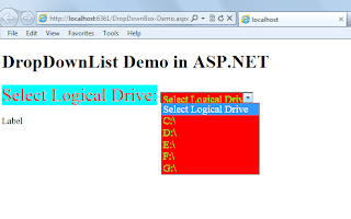 how to get logical drives and driveinfo in asp.net using C#