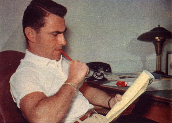 """Twilight Zone"" creator, writer, director Rod Serling at his desk."