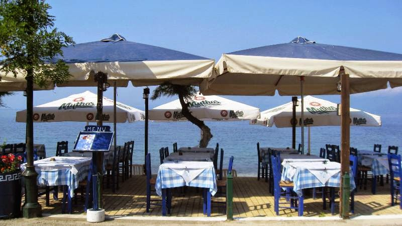 Outdoor tables and chairs under large umbrellas in the sunshine by the sea