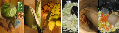 Zubereitung Weißkohl-Gemüse-Curry mit Eiern