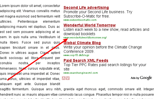 AdSense inside post