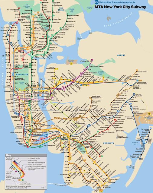 Plano del metro de Nueva York y Manhattan