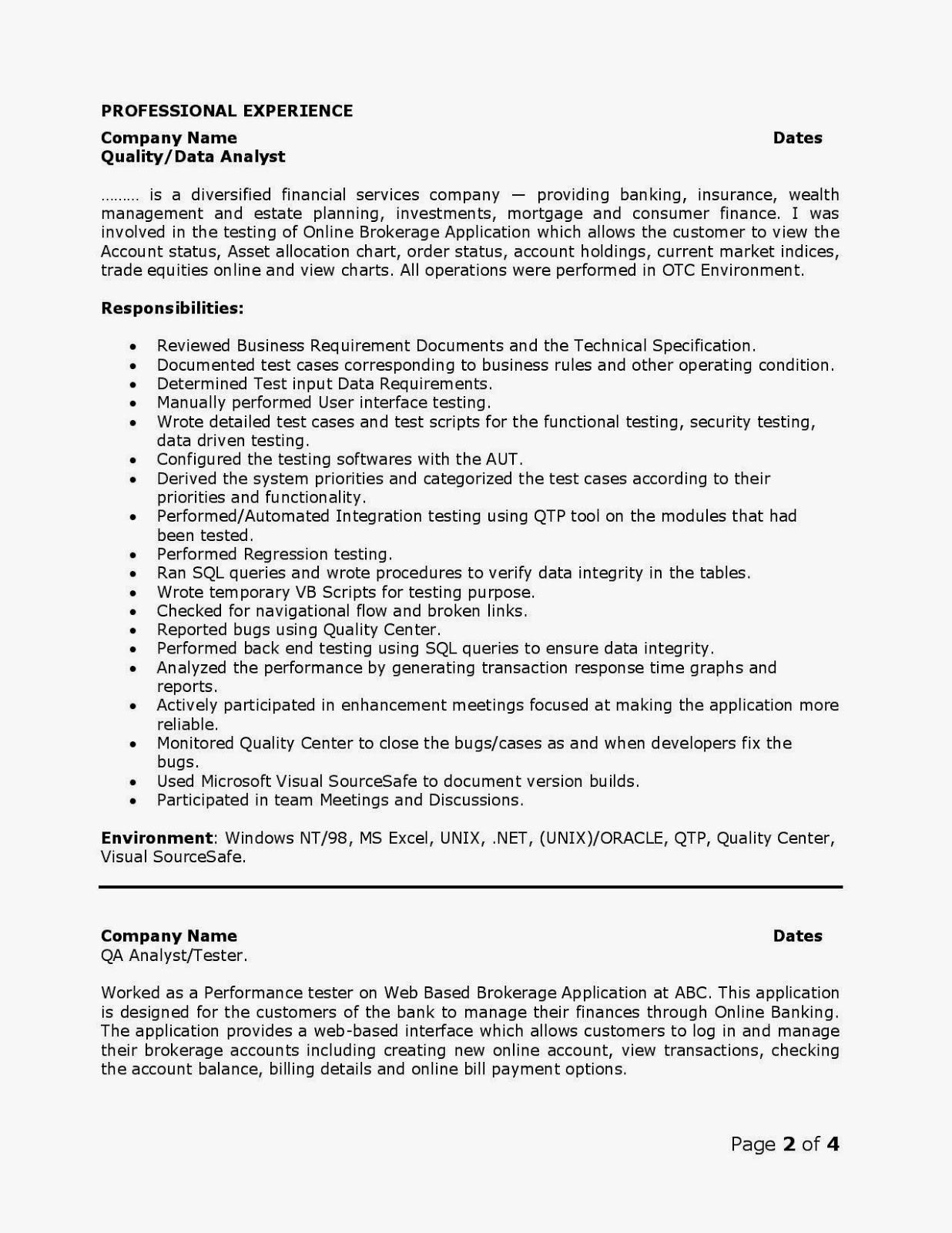 qa analyst resumes - Quality Analyst Resume