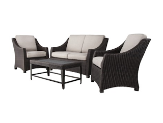 Threshold™ Belvedere 4 Piece Wicker Patio Conversation Furniture Set U2013 Tan