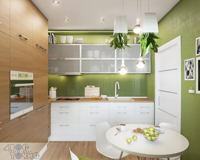 Кухня цвета скошенной травы