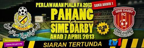 Keputusan Pahang vs Sime Darby 6 April 2013 - Piala FA