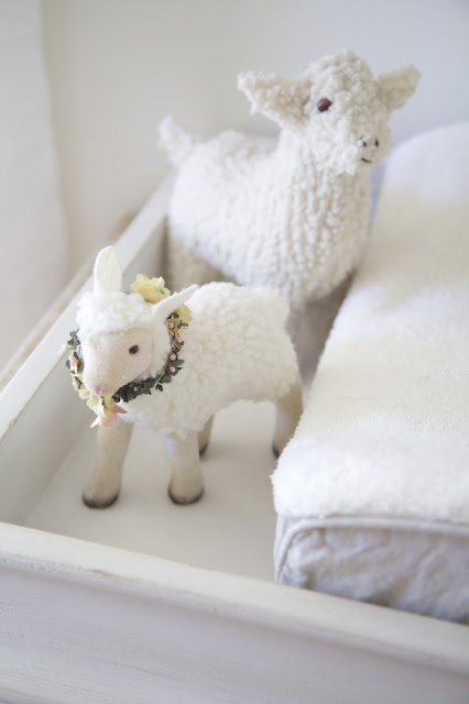 Changing table with lambs; Baby nursery; Nursery in the Nest; Nora's Nest
