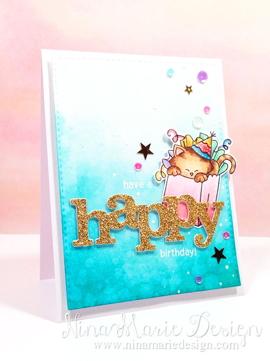 Happy Birthday Cat Card by Nina-Marie Trapani | Newton's Birthday Bash Stamp set by Newton's Nook Designs #newtonsnook #cat #birthday