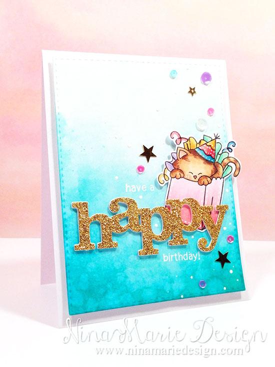 Happy Birthday Cat Card by Nina-Marie Trapani | Newton's Birthday Bash Stamp set by Newton's Nook Designs #newtonsnook #cat #birthday
