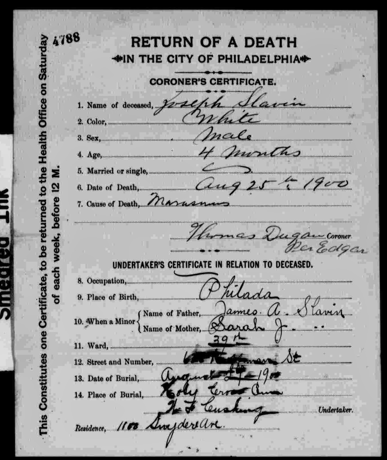 Research hint philadelphia death and birth records phila 1906 cod marasmus death certificate obtained xflitez Gallery