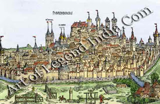 An attractive city, This woodcut, from the famous Nuremberg Chronicle, shows the walled city of Nuremberg in 1492. The Kaiserburg (imperial castle) sits imposingly on the crown of the hill, looking down over a sea of red-roofed' houses. The spires of the two medieval churches of St Lorenz and St Sebald are clearly visible.